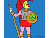 Disegno Guerriero troiano  pitturato su Achille