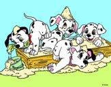 Disegno La carica dei 101 - Cuccioli giocando pitturato su Alessia02