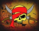 Disegno Simbolo pirata pitturato su Achille