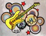 Disegno Chitarra e stelle pitturato su Alessia02