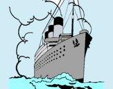 Disegno Nave a vapore pitturato su Alessia02