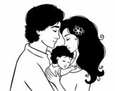 Disegno Famiglia abbraccio pitturato su giorg