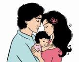 Disegno Famiglia abbraccio pitturato su kara