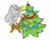 Coniglio decorazione albero di Natale