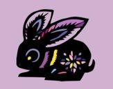 Disegno Segno del coniglio pitturato su ZaffiroBlu