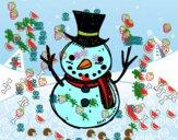 Un pupazzo di neve con il cappello