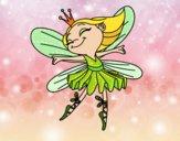 Disegno Fata con alas pitturato su gaga