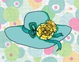 Disegno Cappello con fiori pitturato su gaga