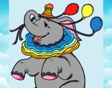 Disegno Elefante con 3 palloncini  pitturato su gaga