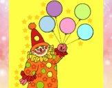 Disegno Pagliaccio con palloncini  pitturato su gaga