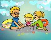 Disegno Famiglia sulla spiaggia pitturato su gaga