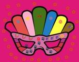 Disegno Maschera con piume pitturato su Fabiana06