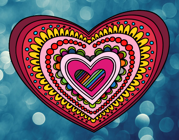 Disegno Mandala cuore pitturato su ZiaDome