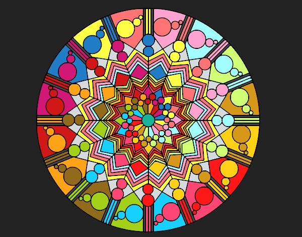 Disegno Mandala fiore con cerchio pitturato su ZiaDome