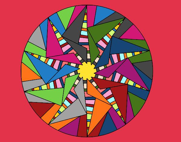 Disegno Mandala sole triangolare pitturato su ZiaDome