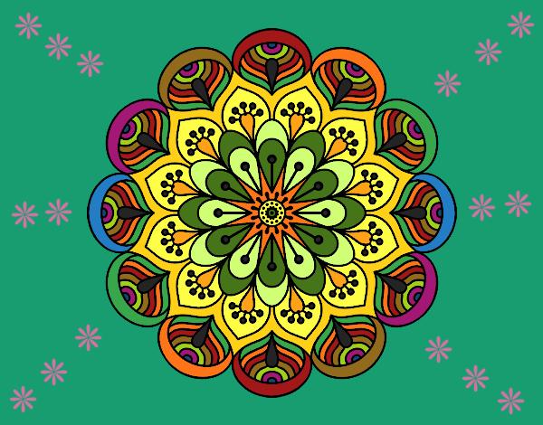 Disegno Mandala fiore e fogli pitturato su ZiaDome