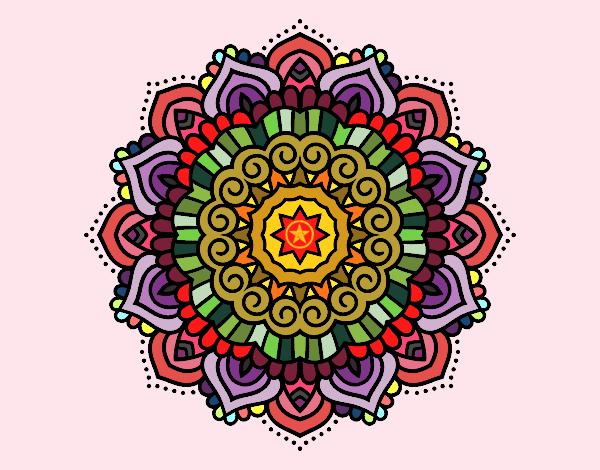 Disegno Mandala stella decorata pitturato su ZiaDome