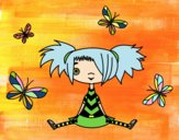 Disegno Ragazza con le farfalle pitturato su stellanera
