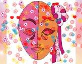 Disegno Maschera italiana  pitturato su noiu-u98