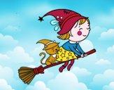 Piccola strega in volo con la scopa