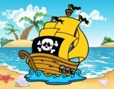Disegno Nave dei pirati pitturato su Mathias