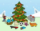 Albero di Natale con giocattoli