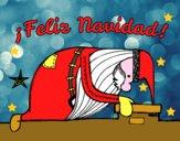 Babbo Natale guardando fuori dalla camino