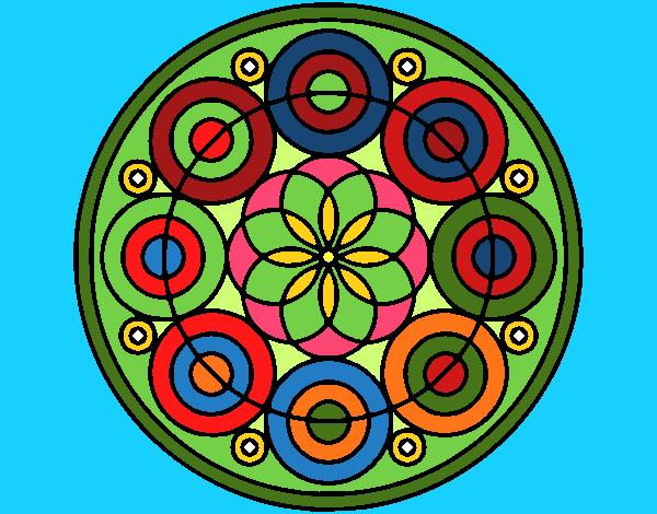 Disegno Mandala 35 pitturato su ZiaDome