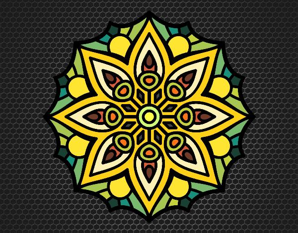 Disegno Mandala semplice simmetria pitturato su ZiaDome
