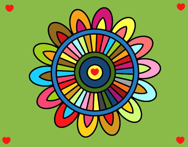 Disegno Mandala solare pitturato su ZiaDome