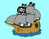 Disegno Barca Pirata pitturato su AleFranci