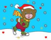 Orsacchiotto pattinaggio di Natale