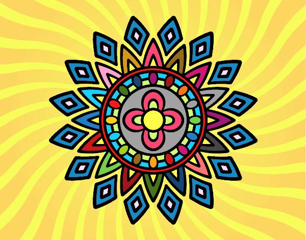 Disegno Mandala lampeggia pitturato su ZiaDome