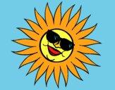Sole con gli occhiali da sole