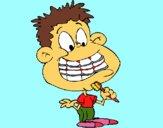 Bambino con l'apparecchio dentale