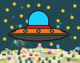 Disegno Invasive nave aliena pitturato su GIOP