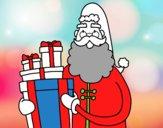 Disegno Santa Claus con i regali pitturato su GIOP