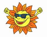 Il sole con occhiali da sole