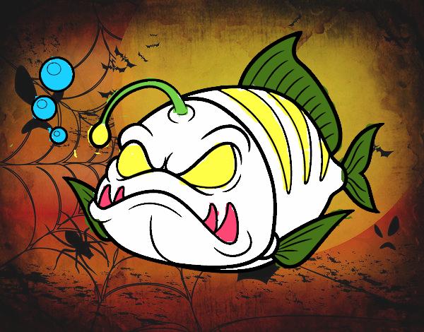 Disegno Pesce lanterna pitturato su FABBRIG