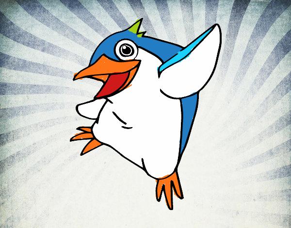 Disegno Pinguino minore blu pitturato su FABBRIG