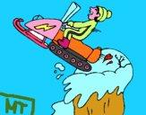 Salto con la motocicletta da neve