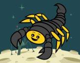 Disegno Scorpione felice pitturato su amirotto