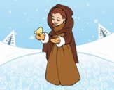 Donna con l'uccello in inverno