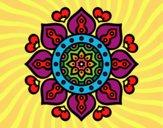 Disegno Mandala cuori arabi pitturato su mamob070
