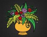 Disegno Un vaso con fiori pitturato su pyrex